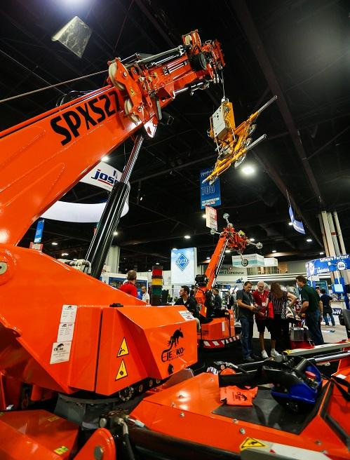 Crane on the GlassBuild 2019 show floor